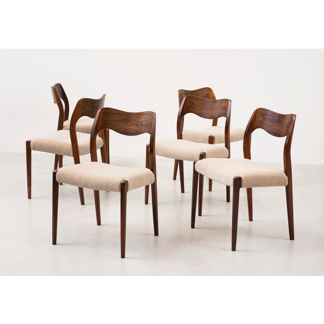 Mid-Century Modern Set of Six Niels Moller Dining Chairs Model #71 in Rosewood and Velvet Mohair For Sale - Image 3 of 11