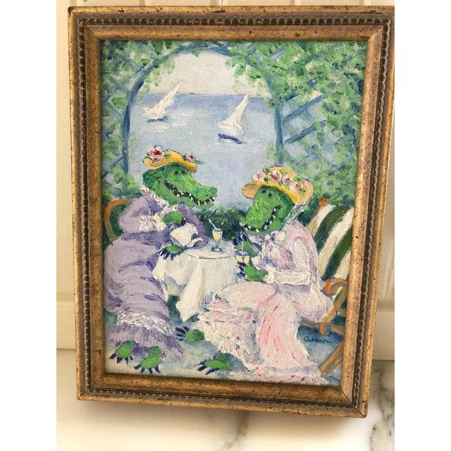 """Genie Callan """"Alligators Sipping Lemonade"""" Oil Painting For Sale In San Francisco - Image 6 of 6"""