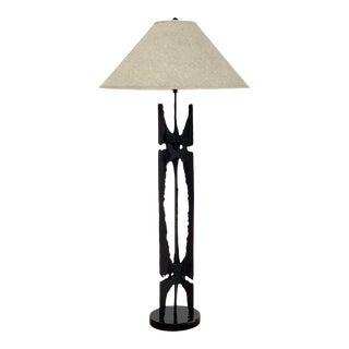 Vintage Brutalist Black Torch Cut Metal Totem Table Lamp, Circa 1970s For Sale