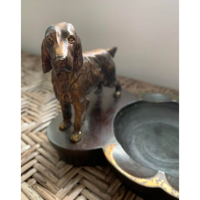 Cabin Heavy Cast Metalware Brass Spaniel Dog Ashtray Philadelphia Manufacturing Co. For Sale - Image 3 of 4