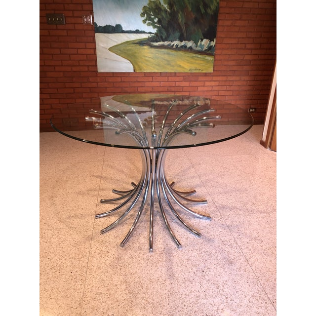 1970s Vintage Italian Chrome and Glass Dining Table For Sale - Image 5 of 6