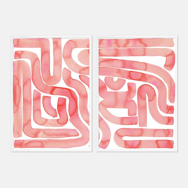 Coral Pool Diptych by Kate Roebuck in White Framed Paper, Small Art Print - A Pair For Sale - Image 4 of 4