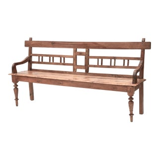 Antique Teak Country Bench For Sale
