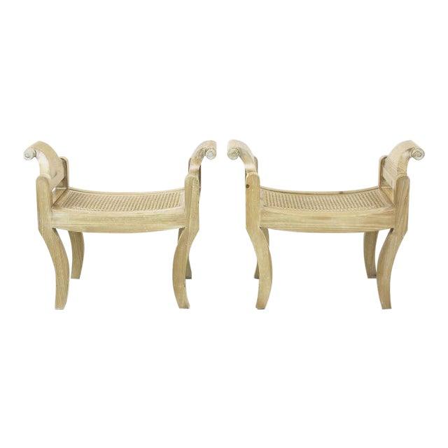 Pair Swedish Rococo Style White Glazed Pine Benches - Image 1 of 10