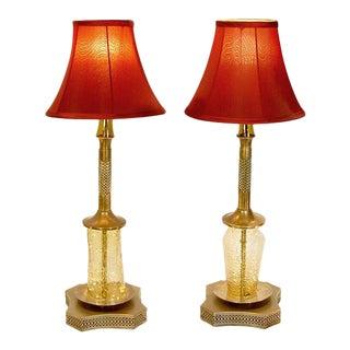 Vintage Yellow Ripple Glass Lamp