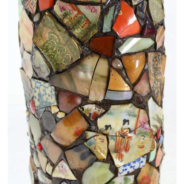 Mosaic Heavy Pottery Cane or Umbrella Stand - Image 7 of 10