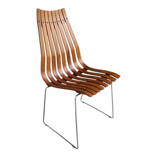 Mid 20th Century Hans Brattrud for Hove Mobler Scandinavian Modern Rosewood Slatted Norwegian Chair For Sale