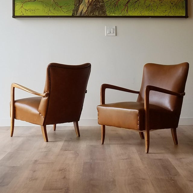 Mid 20th Century Italian Mid-Century Modern Leather Lounge Chairs With Rivets - a Pair For Sale - Image 13 of 13