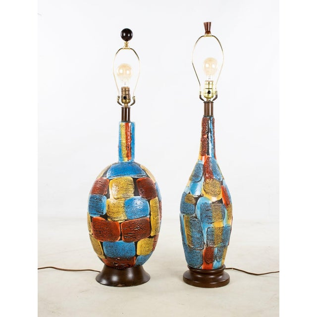Mid-Century Modern Italian Volcanic Glazed Pottery Ceramic Table Lamps - Set of 2 For Sale - Image 13 of 13