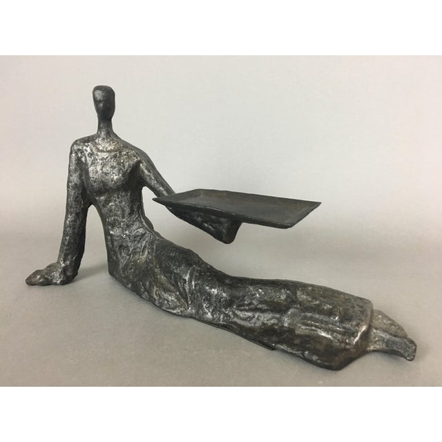 Iron Mid-Century Metal Sculpture of Reclining Female Business Card Holder For Sale - Image 7 of 12