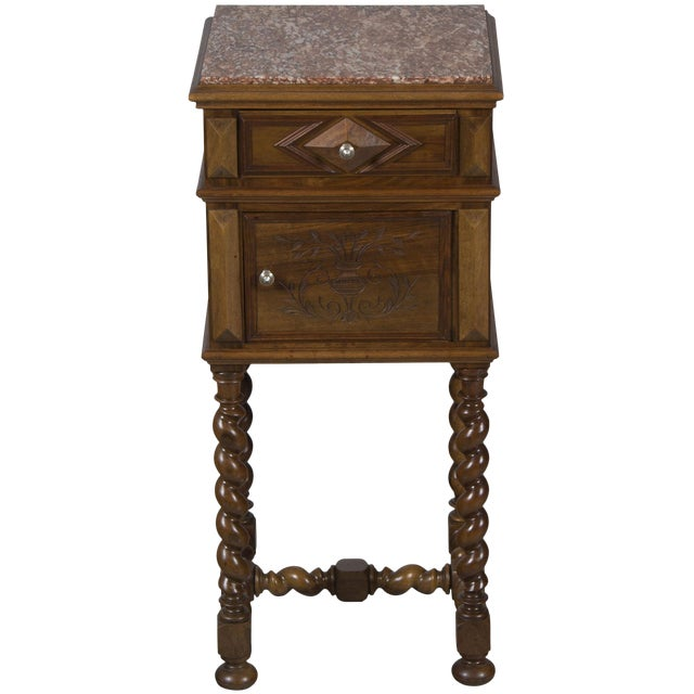 1900s French Marble Topped Walnut Pot Cupboard For Sale