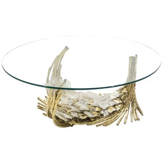 Unique Hollywood Regency Jacques Duval Brasseur Bronze Stones Coffee Table 1970s For Sale