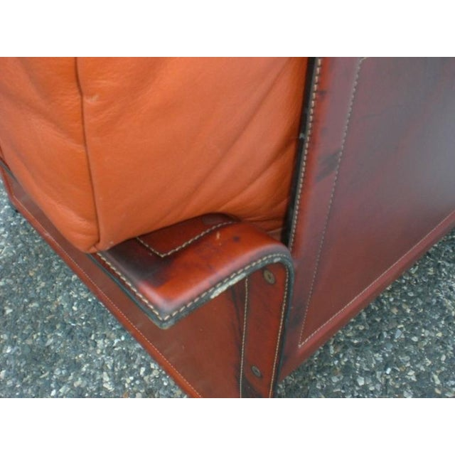 Pair of leather armchairs with leather frame. Very comfortable lounge chairs. (Please confirm item location - NY or NJ -...