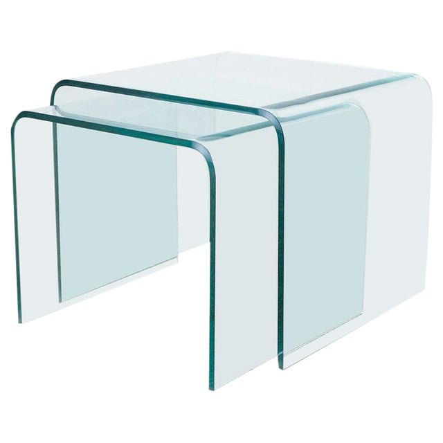 Pair of Angelo Cortesi Glass Waterfall Nesting Drink Tables For Sale