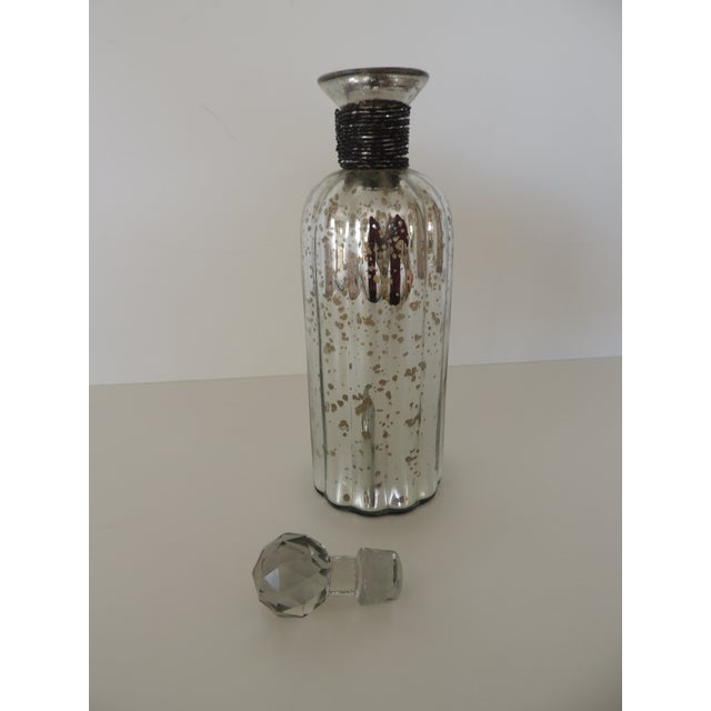 Round Mercury Glass Decanter With Cut Glass Design Stopper and Wire Detail on the Neck. For Sale - Image 4 of 5