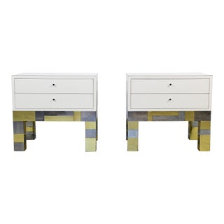 1970s Mid Century Modern Brass Chrome Nightstands - a Pair For Sale