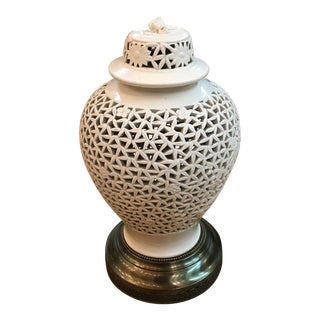 Pierced Blanc De Chine Accent Lamp For Sale