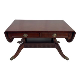 Reproduction Duncan Phyfe Drop Leaf Coffee Cocktail Table For Sale