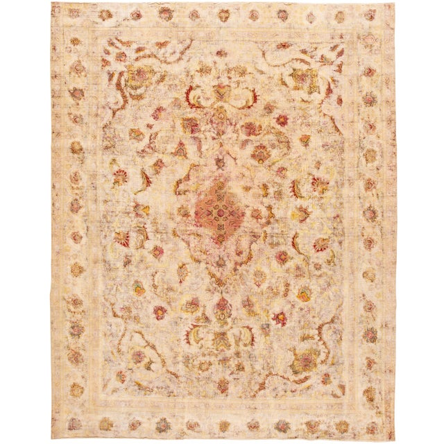 Antique Ivory Kerman Wool Rug For Sale
