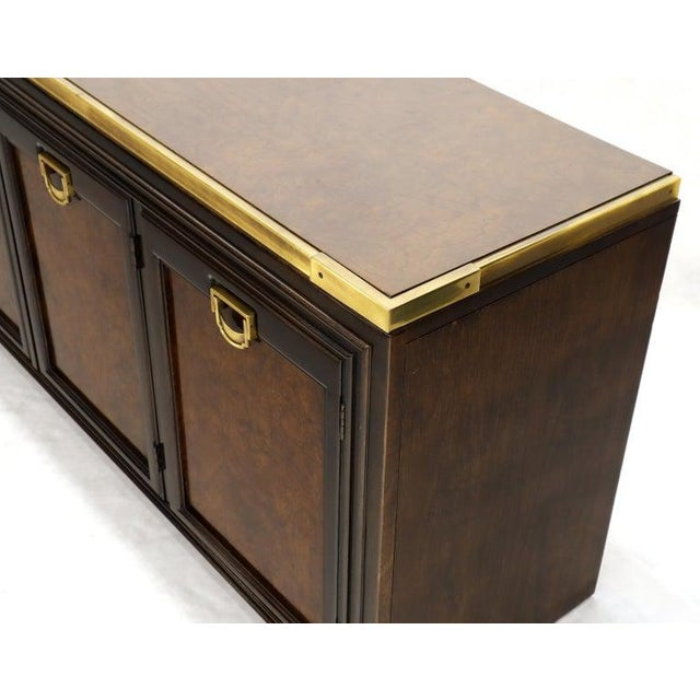 Metal Solid Brass Trim Burl Wood Credenza Server Cabinet Extra Long Dresser For Sale - Image 7 of 10