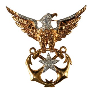 Boucher Eagle Sweetheart Brooch Pin Wwii Navy Anchors Patriotic For Sale