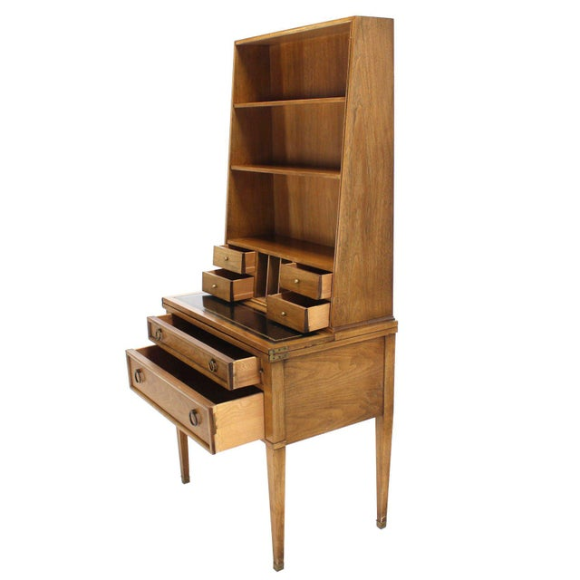 Tan Transitional Baker Modern Petite Secretary With Bookcase on Slim Legs For Sale - Image 8 of 10