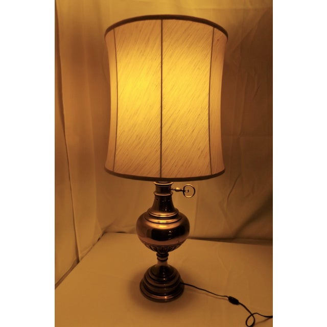 Brass Table Lamp With Milk Glass Diffuser and Cloth Shade For Sale - Image 5 of 8