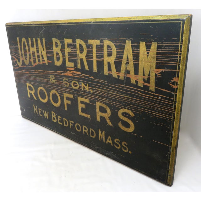 Antique Wood New Bedford Mass. Roofers Sign For Sale - Image 4 of 13