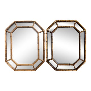 Octagonal Faux Bamboo Mirrors - Set of 2 (Near Pair) For Sale