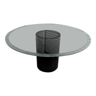 1960s Mid-Century Modern Afra and Tobia Scarpa Leather and Glass Dining Table For Sale