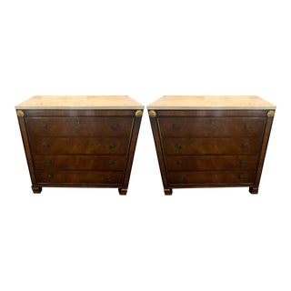 Pair of Hollywood Regency Empire Style Marble Top Commodes by Robert W. Irwin For Sale