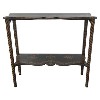 19th C. English Pen-Work Decorated Table