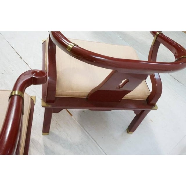 Late 20th Century James Mont Style Century Red Horseshoe Back Lounge Chairs - a Pair For Sale - Image 5 of 9