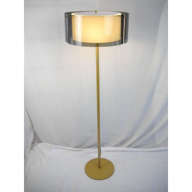 Melrose Mid Century Brass White Shade Floor Lamp: Mid-Century Modern Lucite Shade Floor Lamp
