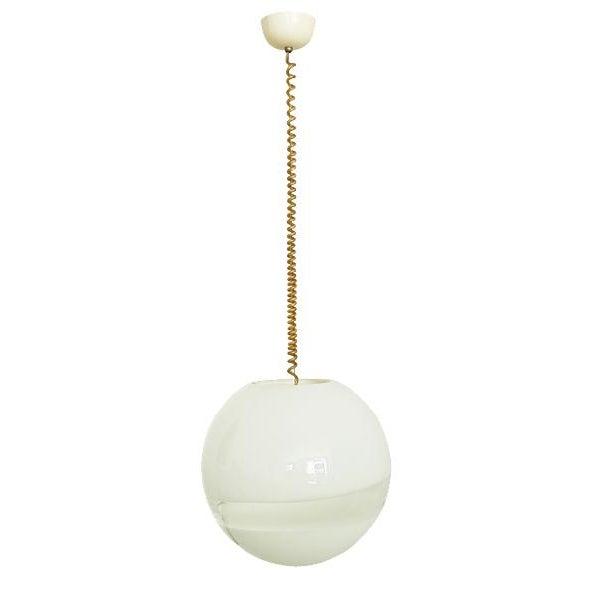 1960s Mid Century Modern Italian White Murano Glass Pendant Light For Sale In Los Angeles - Image 6 of 6