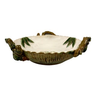 Antique Majolica Bowl With Bamboo Accents For Sale