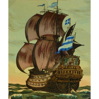 Sailing Ship Galleon, C. 1930, Woodcut For Sale