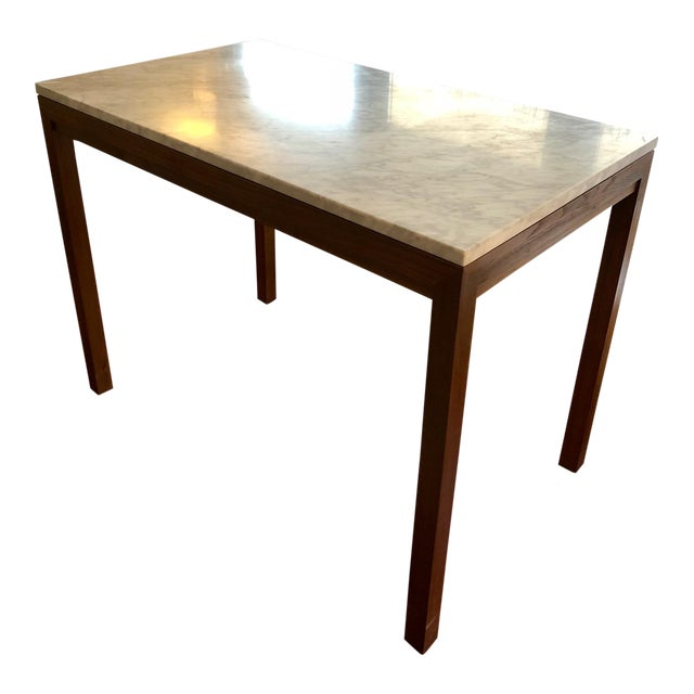 Parsons White Marble Top/ Elm Base Dining Table For Sale