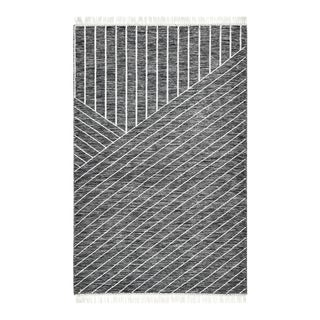 Grace, Contemporary Flatweave Hand Woven Area Rug, Black , 8 X 10 For Sale