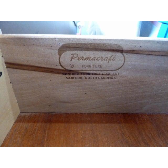 Permacraft Nine Drawer Navy Blue Dresser With Carved Front For Sale - Image 12 of 13