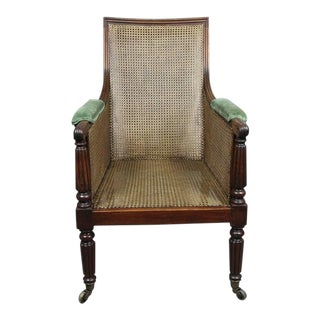Regency Mahogany Caned Bergere Chair For Sale