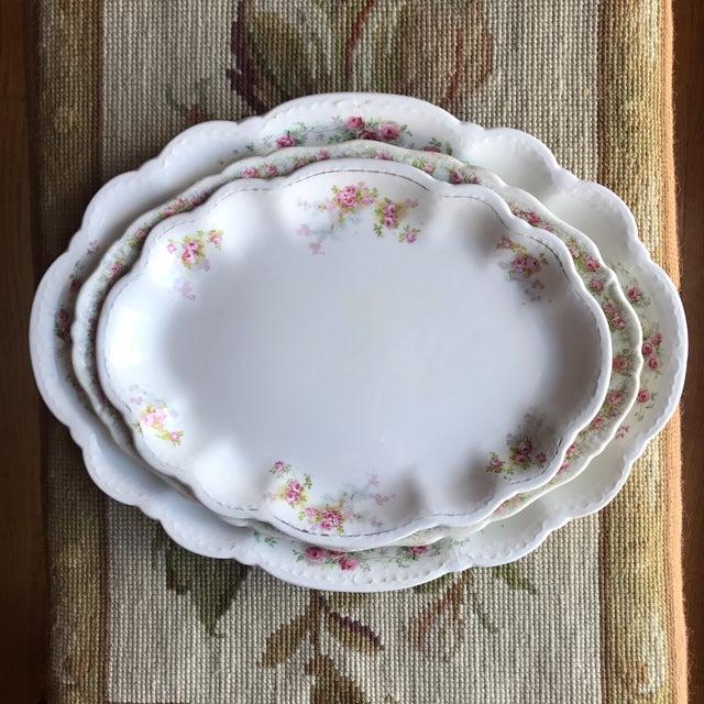 Cottage Vintage Floral Platters - Laughlin & Bassett in Cottage Rose Themes, Set of 3 For Sale - Image 3 of 11