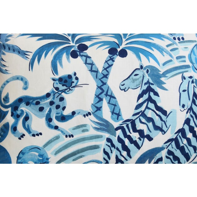 """Boho Chic P. Kaufmann Blue & White Animal Feather/Down Pillow 22"""" X 16"""" For Sale - Image 3 of 9"""
