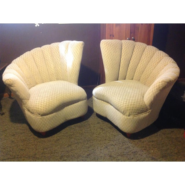 Mid Century tan fan chairs covered in a nice neutral color fabric. Great looking chairs for living room bedroom. No damage...