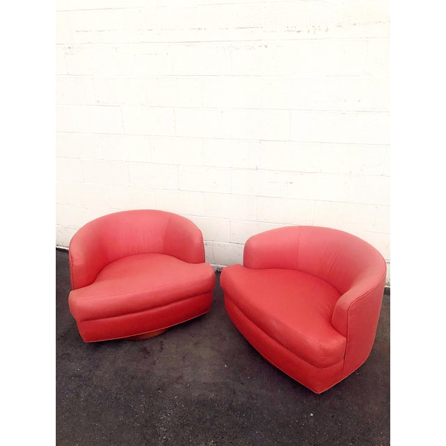 Mid-Century Modern Vintage Milo Baughman Style Custom Swivel Chairs in Original Coral Fabric - a Pair For Sale - Image 3 of 11