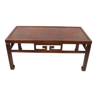 Antique Springfield Furniture Works Oriental Painted Wood Coffee Table For Sale
