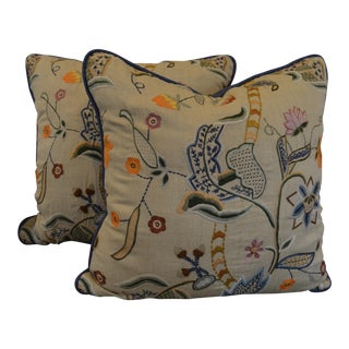 "Eric Cohler Designs by Lee Jofa Embroidered Pillows - a Pair - 18""x18"" For Sale"