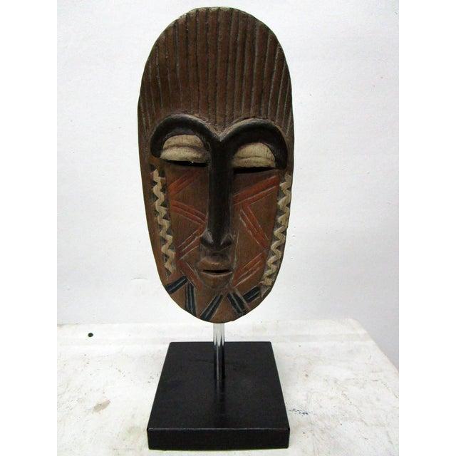 African Mask on Black Base For Sale - Image 4 of 4