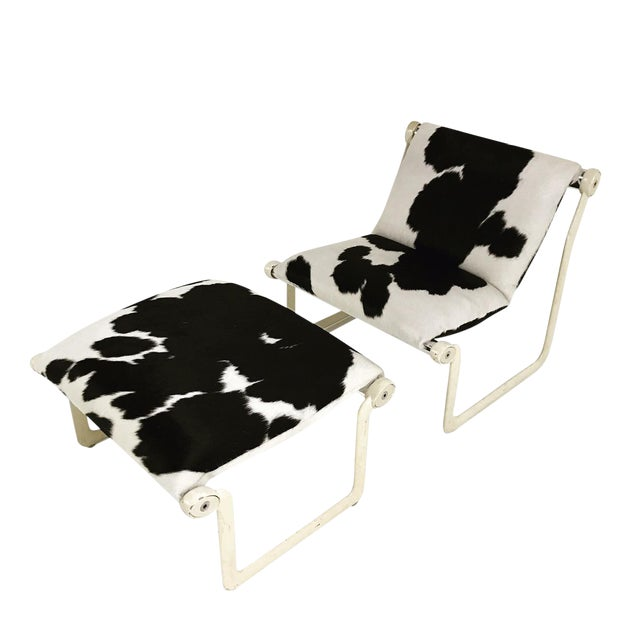Forsyth One of a Kind Morrison & Hannah for Knoll Chair & Ottoman Restored in Black & White Brazilian Cowhide For Sale