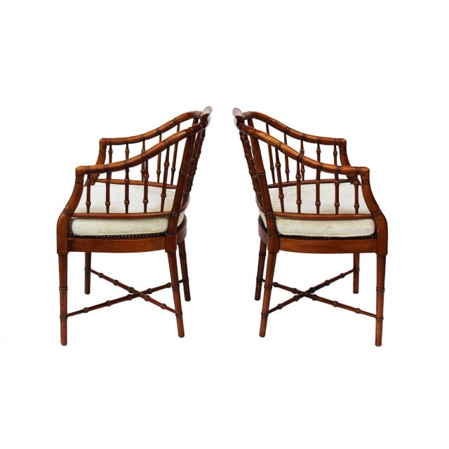 Brown Hekman Faux Bamboo Chippendale Style Armchairs - a Pair For Sale - Image 8 of 10